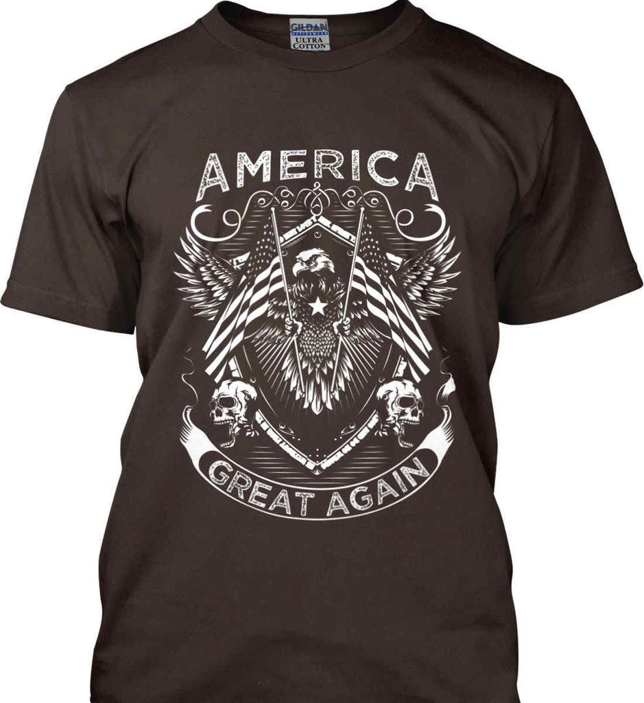 America. Great Again. White Print. Gildan Ultra Cotton T-Shirt.-10