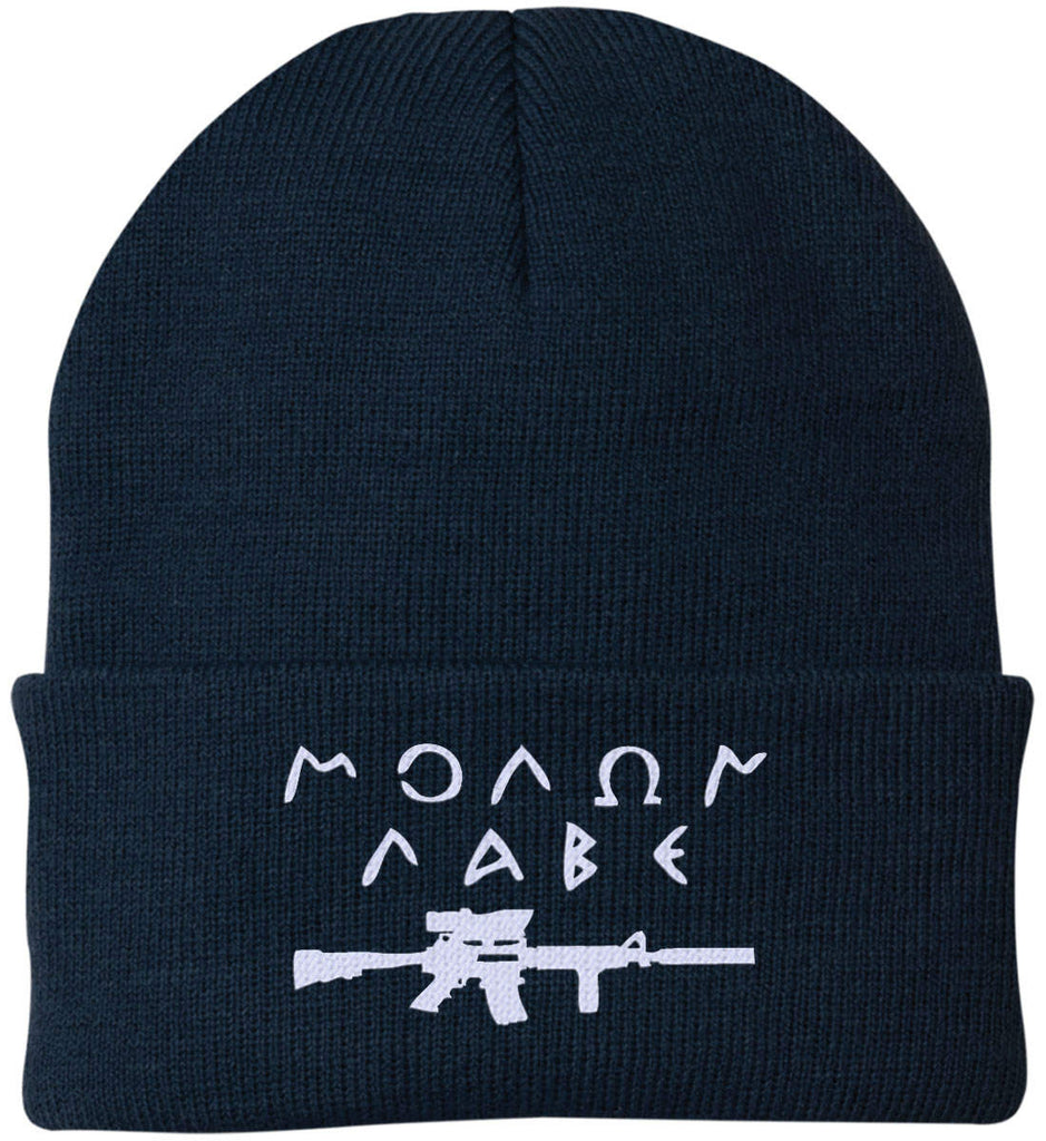 Molon Labe Rifle Hat. Port Authority Knit Cap. (Embroidered)-5