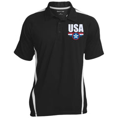 USA. Star-Shield. Red, White, Blue. Sport-Tek Men's Colorblock 3-Button Polo. (Embroidered)