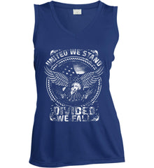 United We Stand. Divided We Fall. White Print. Women's: Sport-Tek Ladies' Sleeveless Moisture Absorbing V-Neck.