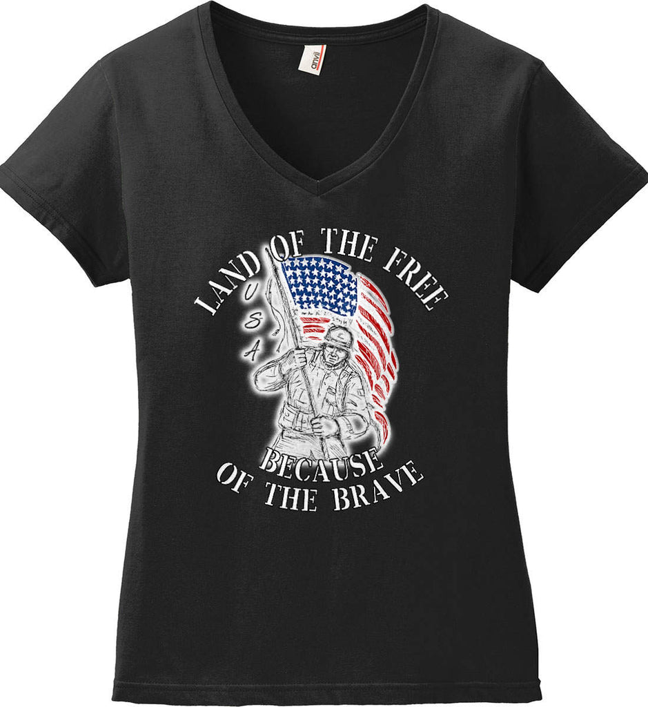 Land of the Free Because of The Brave. Women's: Anvil Ladies' V-Neck T-Shirt.-1