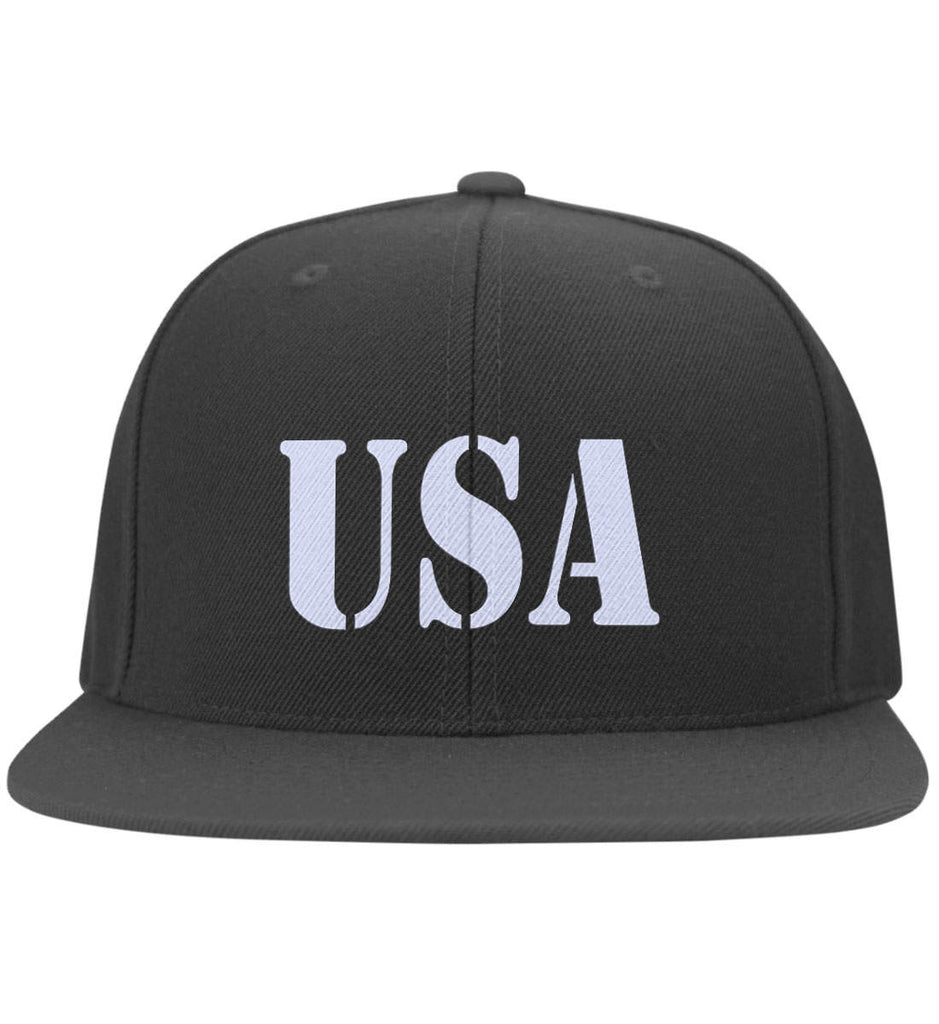 USA Patriot Hat Yupoong Flat Bill Twill Flexfit Cap. (Embroidered)-1