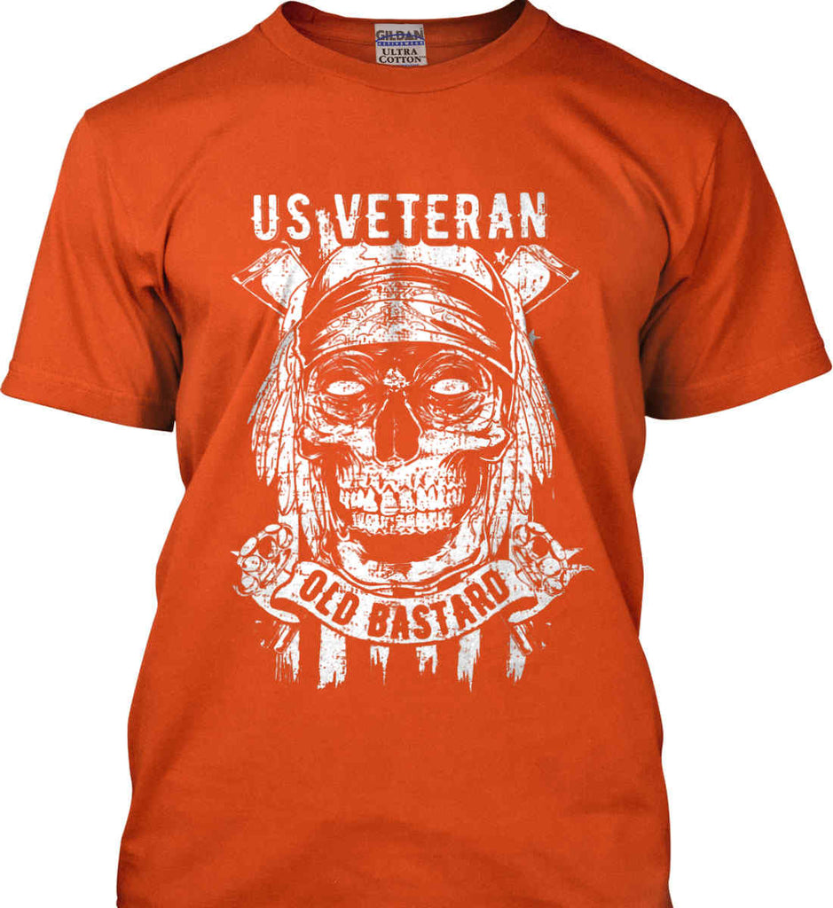 US Veteran. Skull on Flag. White Print. Gildan Ultra Cotton T-Shirt.-5