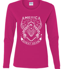 America. Great Again. White Print. Women's: Gildan Ladies Cotton Long Sleeve Shirt.