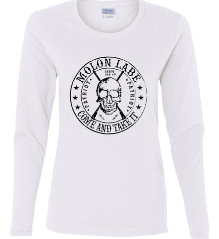 Molon Labe. Come and Take. Skull. Black Print Women's: Gildan Ladies Cotton Long Sleeve Shirt.