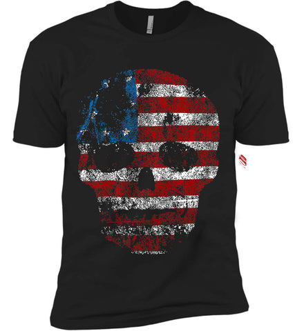 American Skull. Red, White and Blue. Next Level Premium Short Sleeve T-Shirt.