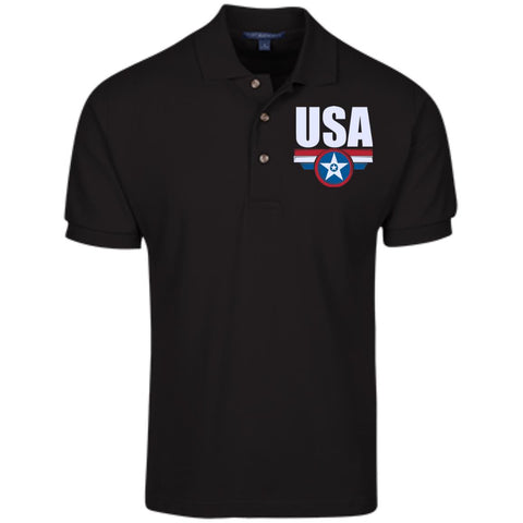 USA. Star-Shield. Red, White, Blue. Port Authority Cotton Pique Knit Polo. (Embroidered)
