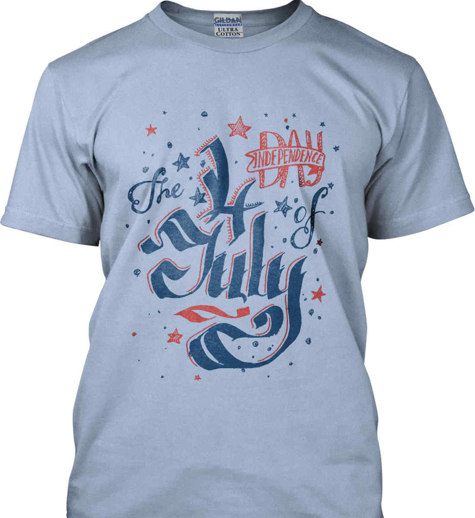 The 4th of July. Ribbon Script. Gildan Ultra Cotton T-Shirt.-10