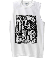 American Patriot - Flag/Rider. Black Print. Gildan Men's Ultra Cotton Sleeveless T-Shirt.