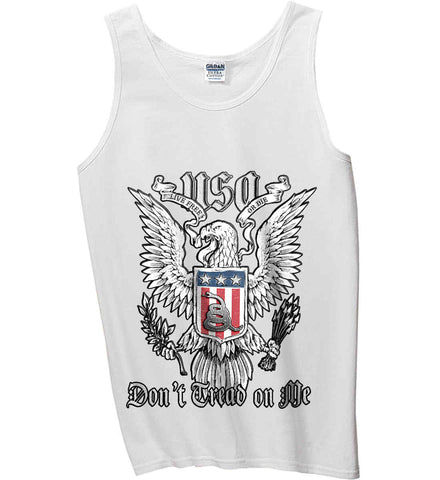 Don't Tread on Me. Eagle with Shield and Rattlesnake. Gildan 100% Cotton Tank Top.