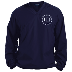 Three Percent III. Surrounded by Stars. Sport-Tek Pullover V-Neck Windshirt. (Embroidered)