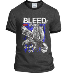BLEED Red, White & Blue. Eagle on Flag. Port and Company Ringer Tee.