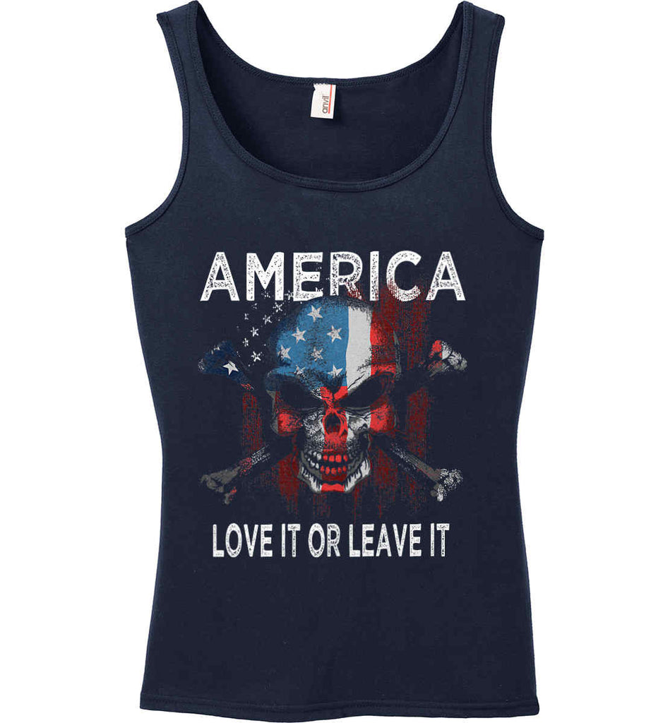 America. Love It or Leave It. Women's: Anvil Ladies' 100% Ringspun Cotton Tank Top.-2