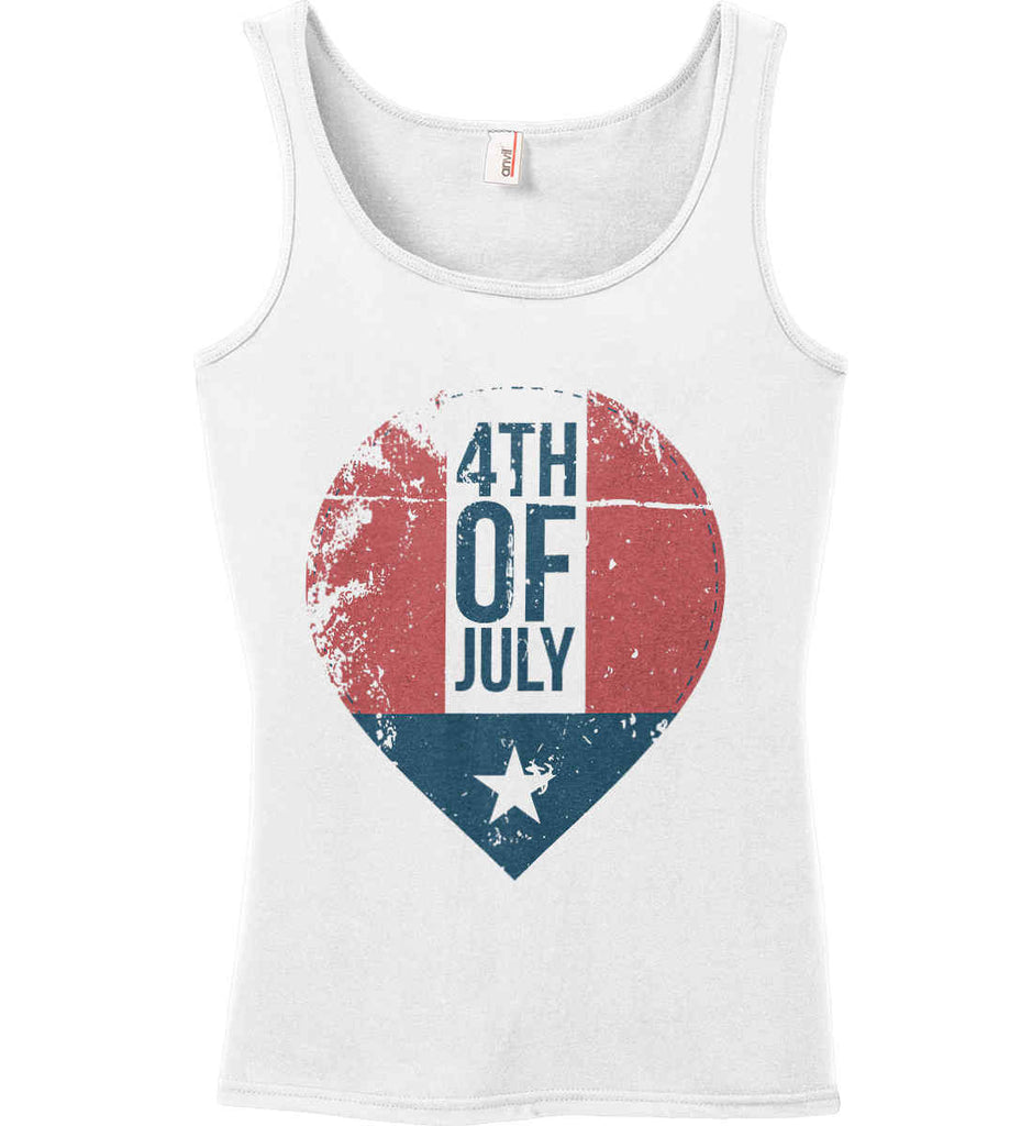 4th of July with Star. Women's: Anvil Ladies' 100% Ringspun Cotton Tank Top.-1
