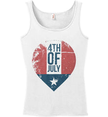 4th of July with Star. Women's: Anvil Ladies' 100% Ringspun Cotton Tank Top.