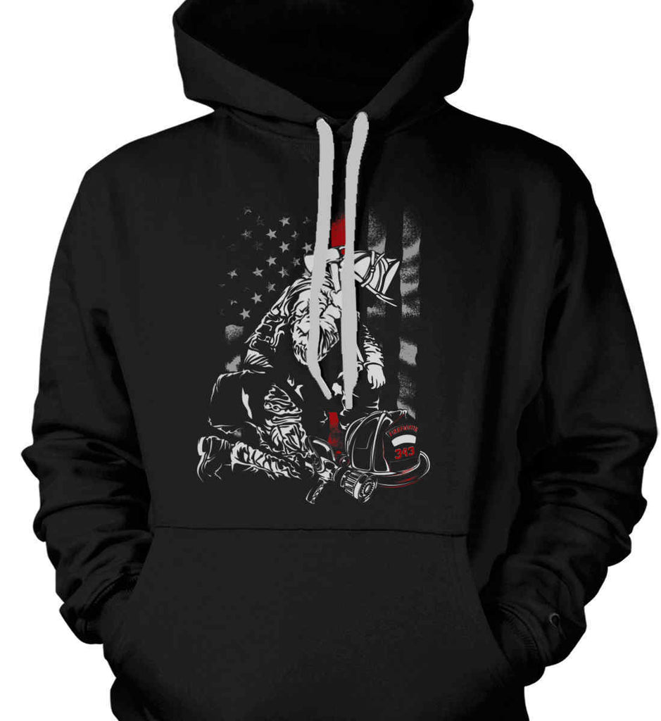 THIN RED LINE FIREFIGHTER STAND FOR THE AMERICAN FLAG SWEATSHIRT HOODIE S-3XL