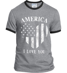 America I Love You White Print. Port and Company Ringer Tee.