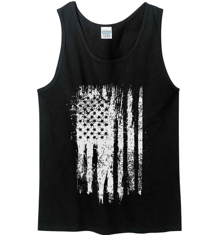 Grungy Grey USA Flag Gildan 100% Cotton Tank Top.