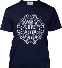 God's Love Never Fails. Port & Co. Made in the USA T-Shirt.