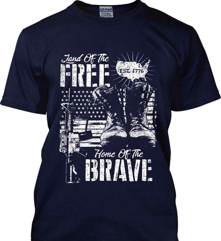 Land Of The Free. Home Of The Brave. 1776. White Print. Gildan Tall Ultra Cotton T-Shirt.