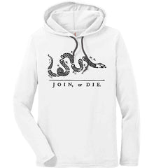 Join or Die. Black Print. Anvil Long Sleeve T-Shirt Hoodie.