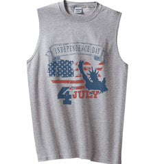 4th of July. Faded Grunge. Statue of Liberty. Gildan Men's Ultra Cotton Sleeveless T-Shirt.
