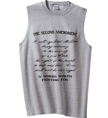 The Second Amendment. 27 Words Worth Fighting For. Second Amendment. Black Print. Gildan Men's Ultra Cotton Sleeveless T-Shirt.