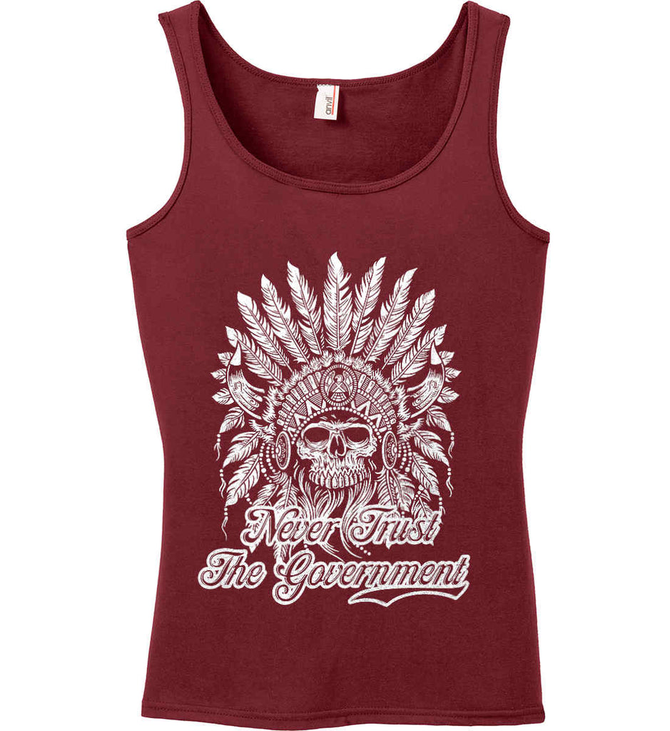 Never Trust the Government. Indian Skull. White Print. Women's: Anvil Ladies' 100% Ringspun Cotton Tank Top.-4