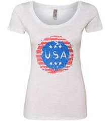 Grungy USA. Women's: Next Level Ladies' Triblend Scoop.