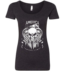 America. Punisher Skull and Bones. Since 1776. White Print. Women's: Next Level Ladies' Triblend Scoop.