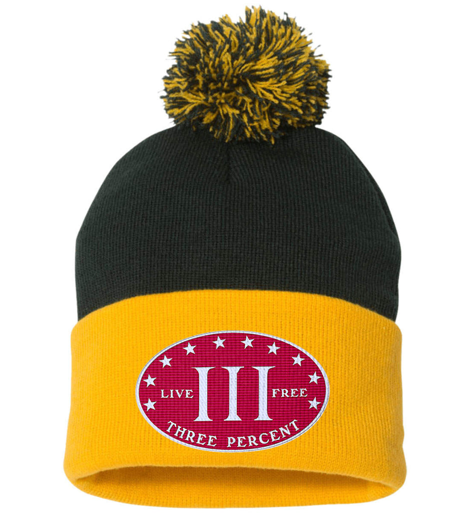 Three Percenter. Live Free. Hat. Sportsman Pom Pom Knit Cap. (Embroidered)-7