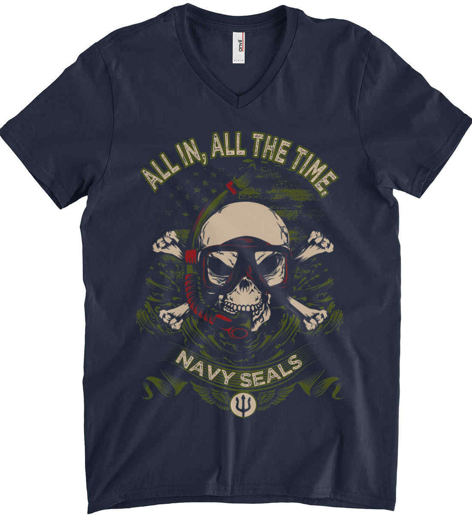 All In, All The Time. Navy Seals. Anvil Men's Printed V-Neck T-Shirt.-2
