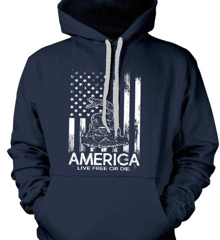 America. Live Free or Die. Don't Tread on Me. White Print. Gildan Heavyweight Pullover Fleece Sweatshirt.
