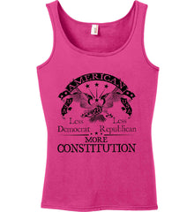 America: Less Democrat - Less Republican. More Constitution. Black Print Women's: Anvil Ladies' 100% Ringspun Cotton Tank Top.