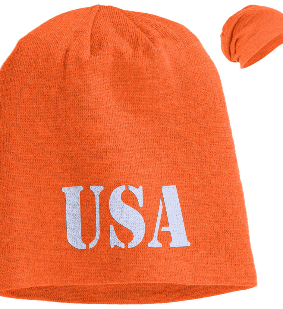 USA Patriot Hat District Slouch Beanie. (Embroidered)-6