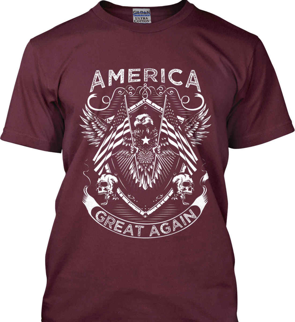 America. Great Again. White Print. Gildan Ultra Cotton T-Shirt.-7
