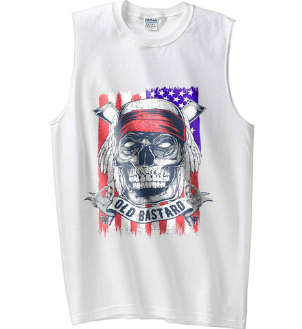 US Veteran. Skull on Flag. Gildan Men's Ultra Cotton Sleeveless T-Shirt.