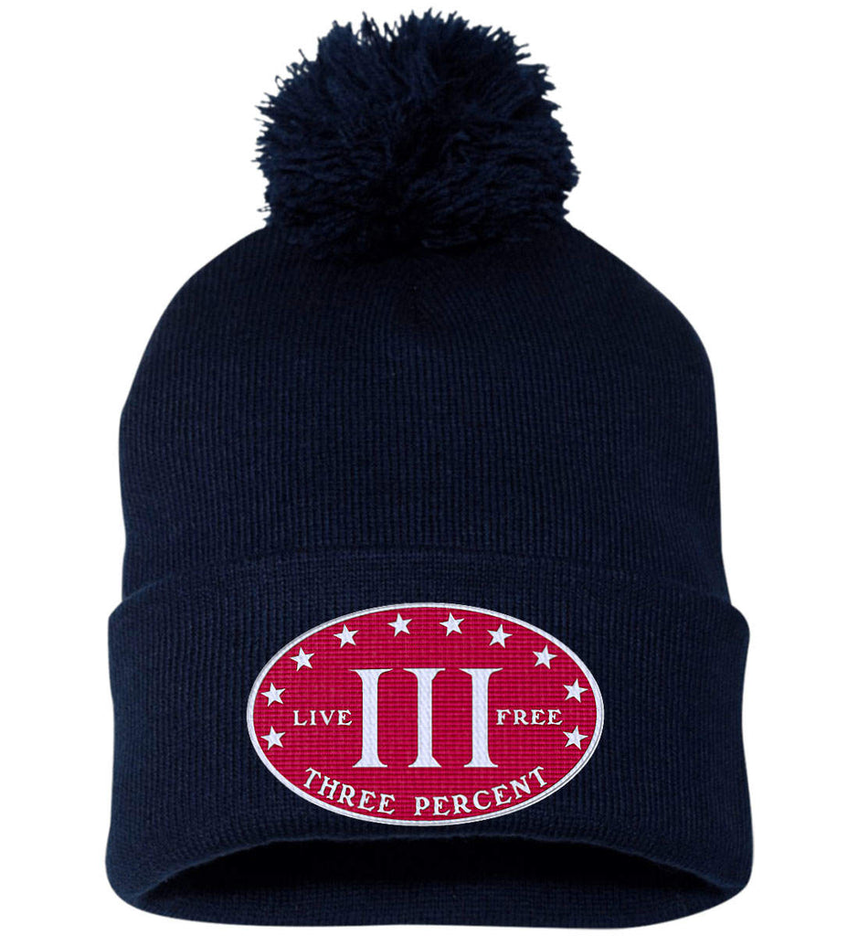 Three Percenter. Live Free. Hat. Sportsman Pom Pom Knit Cap. (Embroidered)-10