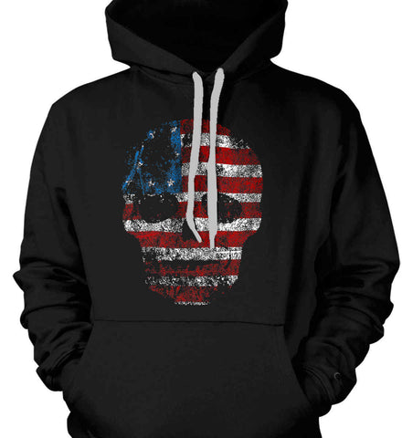 American Skull. Red, White and Blue. Gildan Heavyweight Pullover Fleece Sweatshirt.