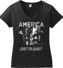 America. Love It or Leave It. White Print. Women's: Anvil Ladies' V-Neck T-Shirt.