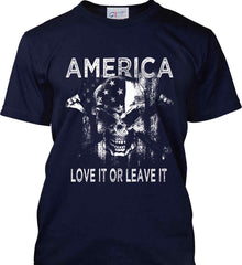 America. Love It or Leave It. White Print. Port & Co. Made in the USA T-Shirt.
