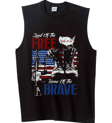 Land Of The Free. Home Of The Brave. 1776. Gildan Men's Ultra Cotton Sleeveless T-Shirt.