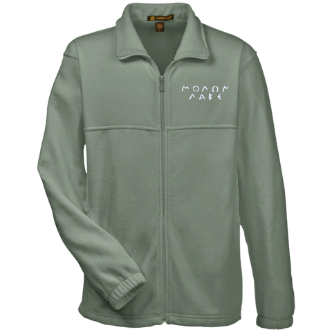 Molon Labe. Original Script. White. Harriton Fleece Full-Zip. (Embroidered)
