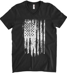 Grungy Grey USA Flag Anvil Men's Printed V-Neck T-Shirt.