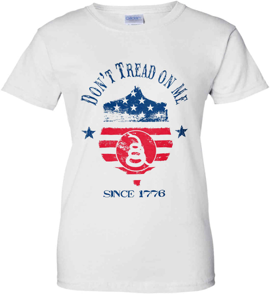 Don't Tread on Me. Snake on Shield. Red, White and Blue. Women's: Gildan Ladies' 100% Cotton T-Shirt.-2