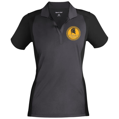 Molon Labe. Spartan Helmet. Yellow/Black. Women's: Sport-Tek Ladies' Colorblock Sport-Wick Polo. (Embroidered)
