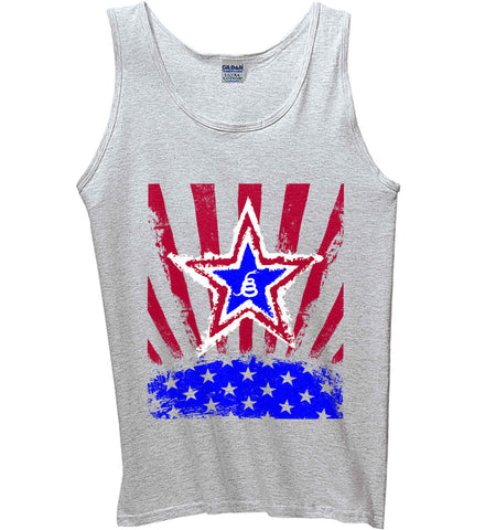 Don't Tread on Me: Red, White and Blue Rattlesnake. Gildan 100% Cotton Tank Top.