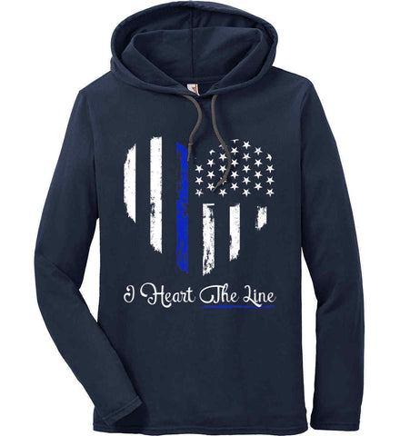 I Heart the Blue Line. Pro-Police. Anvil Long Sleeve T-Shirt Hoodie.