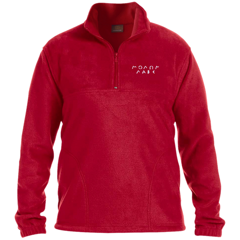 Molon Labe. Original Script. White. Harriton 1/4 Zip Fleece Pullover. (Embroidered)