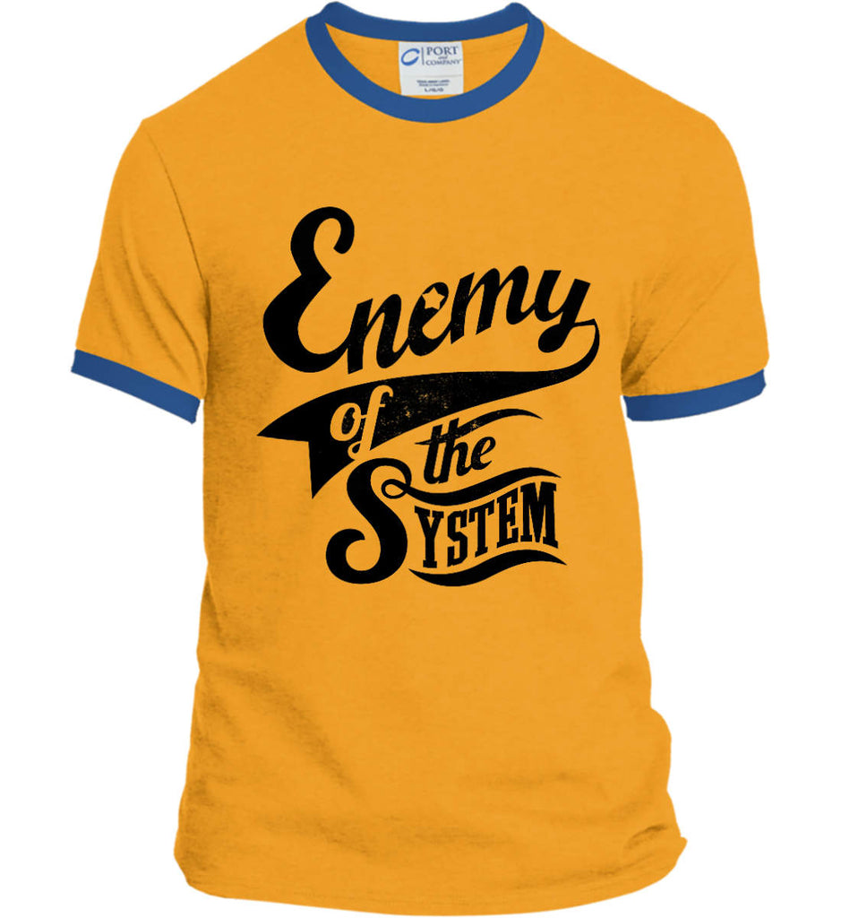 Enemy of The System. Port and Company Ringer Tee.-6